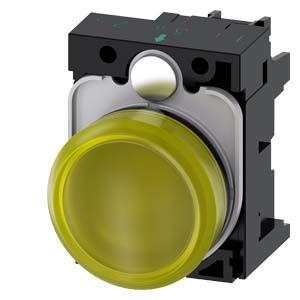 Yellow, w/ holder, 24V AC/DC LED