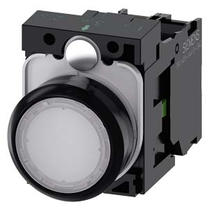 White, w/ holder, 1NO, 24V AC/DC LED